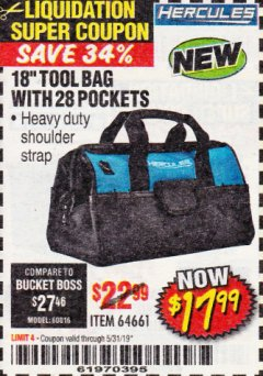 "Harbor Freight Coupon HERCULES 18"" TOOL BAG WITH 28 POCKETS Lot No. 64661 Valid Thru: 5/31/19 - $17.99"