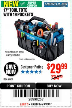 "Harbor Freight Coupon HERCULES 17"" TOOL TOTE WITH 19 POCKETS Lot No. 64659 Expired: 3/3/19 - $29.99"