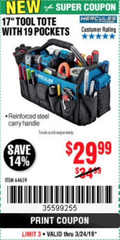 "Harbor Freight Coupon HERCULES 17"" TOOL TOTE WITH 19 POCKETS Lot No. 64659 Expired: 3/24/19 - $29.99"