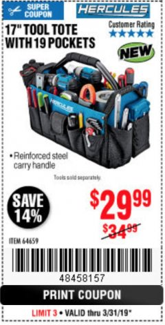 "Harbor Freight Coupon HERCULES 17"" TOOL TOTE WITH 19 POCKETS Lot No. 64659 Expired: 3/31/19 - $29.99"