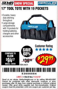 "Harbor Freight Coupon HERCULES 17"" TOOL TOTE WITH 19 POCKETS Lot No. 64659 Expired: 11/24/19 - $29.99"