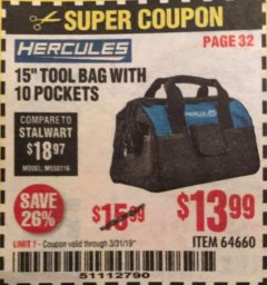 "Harbor Freight Coupon HERCULES 15"" TOOL BAG WITH 10 POCKETS Lot No. 64660 Expired: 3/31/19 - $13.99"