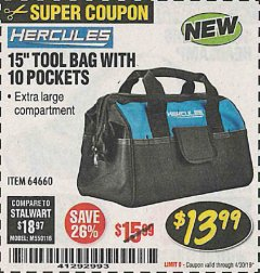 "Harbor Freight Coupon HERCULES 15"" TOOL BAG WITH 10 POCKETS Lot No. 64660 Expired: 4/30/19 - $13.99"