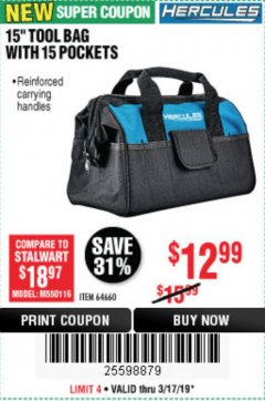 "Harbor Freight Coupon HERCULES 15"" TOOL BAG WITH 10 POCKETS Lot No. 64660 Expired: 3/17/19 - $12.99"