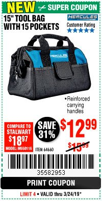 "Harbor Freight Coupon HERCULES 15"" TOOL BAG WITH 10 POCKETS Lot No. 64660 Expired: 3/24/19 - $12.99"