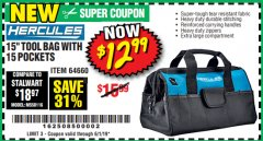 "Harbor Freight Coupon HERCULES 15"" TOOL BAG WITH 10 POCKETS Lot No. 64660 Expired: 6/1/19 - $12.99"