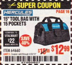 "Harbor Freight Coupon HERCULES 15"" TOOL BAG WITH 10 POCKETS Lot No. 64660 Expired: 4/30/19 - $12.99"