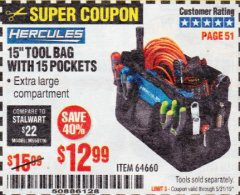 "Harbor Freight Coupon HERCULES 15"" TOOL BAG WITH 10 POCKETS Lot No. 64660 Expired: 5/31/19 - $12.99"