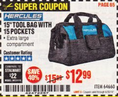 "Harbor Freight Coupon HERCULES 15"" TOOL BAG WITH 10 POCKETS Lot No. 64660 Expired: 6/30/19 - $12.99"