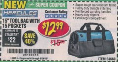"Harbor Freight Coupon HERCULES 15"" TOOL BAG WITH 10 POCKETS Lot No. 64660 Expired: 8/24/19 - $12.99"
