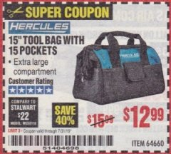 "Harbor Freight Coupon HERCULES 15"" TOOL BAG WITH 10 POCKETS Lot No. 64660 Expired: 7/31/19 - $12.99"