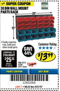 Harbor Freight Coupon 30 BIN WALL MOUNT PARTS RACK Lot No. 62198/69571/65889/63151/63306 Expired: 5/31/18 - $13.99