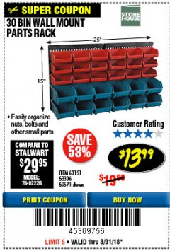 Harbor Freight Coupon 30 BIN WALL MOUNT PARTS RACK Lot No. 62198/69571/65889/63151/63306 Expired: 8/31/18 - $13.99