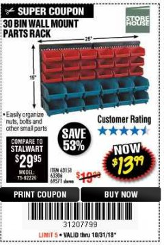 Harbor Freight Coupon 30 BIN WALL MOUNT PARTS RACK Lot No. 62198/69571/65889/63151/63306 Expired: 10/31/18 - $13.99