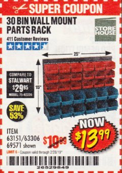 Harbor Freight Coupon 30 BIN WALL MOUNT PARTS RACK Lot No. 62198/69571/65889/63151/63306 Expired: 2/28/19 - $13.99
