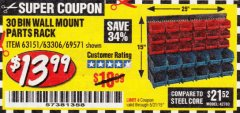 Harbor Freight Coupon 30 BIN WALL MOUNT PARTS RACK Lot No. 62198/69571/65889/63151/63306 Expired: 5/31/19 - $13.99
