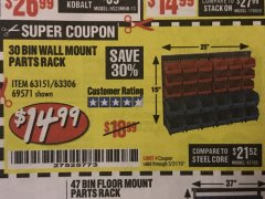 Harbor Freight Coupon 30 BIN WALL MOUNT PARTS RACK Lot No. 62198/69571/65889/63151/63306 Expired: 5/31/19 - $14.99