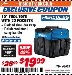 "Harbor Freight ITC Coupon HERCULES 10"" TOOL TOTE WITH 22 POCKETS Lot No. 64658 Expired: 9/30/19 - $19.99"