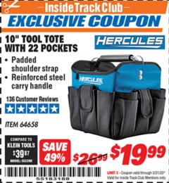 "Harbor Freight ITC Coupon HERCULES 10"" TOOL TOTE WITH 22 POCKETS Lot No. 64658 Expired: 3/31/20 - $19.99"