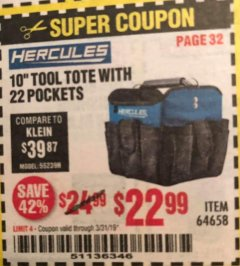"Harbor Freight Coupon HERCULES 10"" TOOL TOTE WITH 22 POCKETS Lot No. 64658 Expired: 3/31/19 - $22.99"