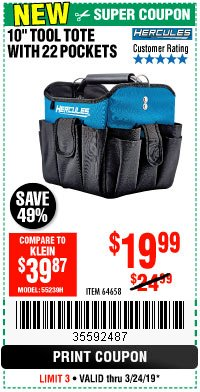 "Harbor Freight Coupon HERCULES 10"" TOOL TOTE WITH 22 POCKETS Lot No. 64658 Expired: 3/24/19 - $19.99"