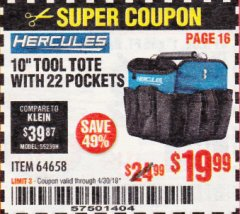 "Harbor Freight Coupon HERCULES 10"" TOOL TOTE WITH 22 POCKETS Lot No. 64658 Expired: 4/30/19 - $19.99"