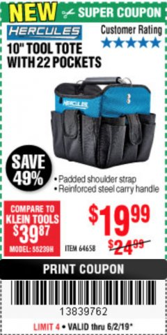 "Harbor Freight Coupon HERCULES 10"" TOOL TOTE WITH 22 POCKETS Lot No. 64658 Valid Thru: 6/2/19 - $19.99"