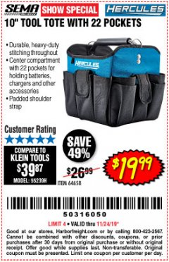 "Harbor Freight Coupon HERCULES 10"" TOOL TOTE WITH 22 POCKETS Lot No. 64658 Valid Thru: 11/24/19 - $19.99"