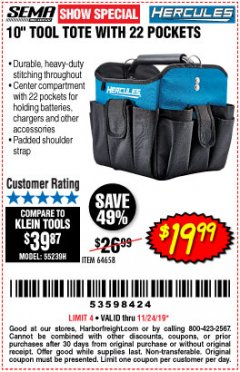 "Harbor Freight Coupon HERCULES 10"" TOOL TOTE WITH 22 POCKETS Lot No. 64658 Expired: 11/24/19 - $19.99"