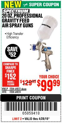 Harbor Freight Coupon SPECTRUM 20 OZ. PROFESSIONAL HVLP GRAVITY FEED AIR SPRAY GUN Lot No. 64823 Expired: 4/28/19 - $99.99