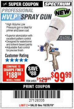 Harbor Freight Coupon SPECTRUM 20 OZ. PROFESSIONAL HVLP GRAVITY FEED AIR SPRAY GUN Lot No. 64823 Expired: 10/20/19 - $99.99