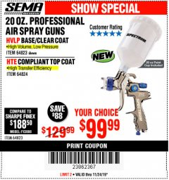 Harbor Freight Coupon SPECTRUM 20 OZ. PROFESSIONAL HVLP GRAVITY FEED AIR SPRAY GUN Lot No. 64823 Expired: 11/24/19 - $99.99