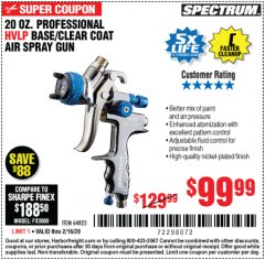 Harbor Freight Coupon SPECTRUM 20 OZ. PROFESSIONAL HVLP GRAVITY FEED AIR SPRAY GUN Lot No. 64823 Expired: 2/16/20 - $99.99