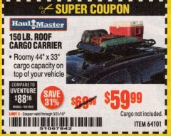 Harbor Freight Coupon 150 LB. ROOF CARGO CARRIER Lot No. 64101 Expired: 3/31/19 - $59.99