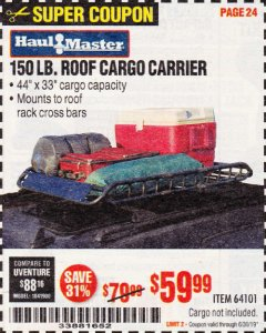 Harbor Freight Coupon 150 LB. ROOF CARGO CARRIER Lot No. 64101 Expired: 6/30/19 - $59.99