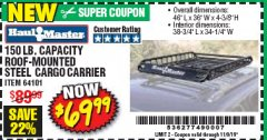 Harbor Freight Coupon 150 LB. ROOF CARGO CARRIER Lot No. 64101 Expired: 11/9/19 - $69.99