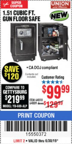 Harbor Freight Coupon 1.51 CUBIC FT. LOCK GUN FLOOR SAFE Lot No. 64010 Expired: 6/30/19 - $99.99