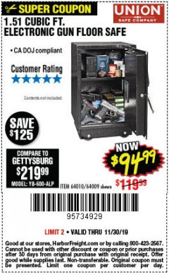Harbor Freight Coupon 1.51 CUBIC FT. LOCK GUN FLOOR SAFE Lot No. 64010 Expired: 11/30/19 - $94.99