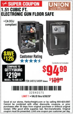 Harbor Freight Coupon 1.51 CUBIC FT. LOCK GUN FLOOR SAFE Lot No. 64010 Expired: 6/30/20 - $94.99