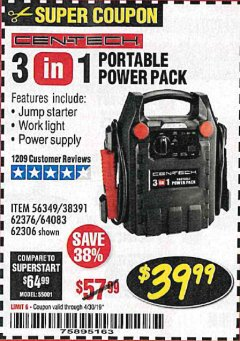 Harbor Freight Coupon 3 IN 1 PORTABLE POWER PACK  Lot No. 56349/38391/62376/64083/62306 Expired: 4/30/19 - $39.99