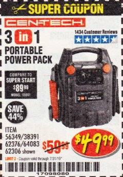 Harbor Freight Coupon 3 IN 1 PORTABLE POWER PACK  Lot No. 56349/38391/62376/64083/62306 Expired: 7/31/19 - $49.99