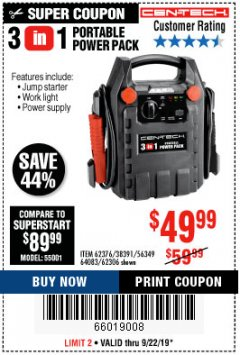 Harbor Freight Coupon 3 IN 1 PORTABLE POWER PACK  Lot No. 56349/38391/62376/64083/62306 Expired: 9/22/19 - $49.99