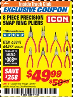 Harbor Freight ITC Coupon 8 PIECE PRECISION SNAP RING PLIERS ICON Lot No. 64597/ 63841 Expired: 1/31/20 - $49.99