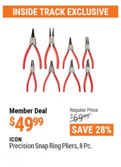 Harbor Freight ITC Coupon 8 PIECE PRECISION SNAP RING PLIERS ICON Lot No. 64597/ 63841 Valid Thru: 4/29/21 - $49.99