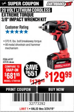 Harbor Freight Coupon 20 VOLT LITHIUM CORDLESS EXTREME TORQUE 3/8 IMPACT WRENCH KIT Lot No. 64197 Expired: 3/24/19 - $129.99