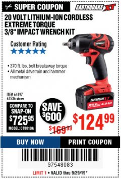 Harbor Freight Coupon 20 VOLT LITHIUM CORDLESS EXTREME TORQUE 3/8 IMPACT WRENCH KIT Lot No. 64197 Valid Thru: 9/29/19 - $124.99