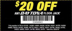 Harbor Freight Coupon $20 OFF ANY DAYTONA JACK Lot No. 63183/64360/64883/64240/64784/56261/64780/64359/64882/64200/64783/56260/64779/64521/64878/64201/64786/56263/64782/64522/64880/64241/64785/56262/64781 Expired: 3/24/19 - $0