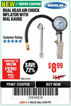 Harbor Freight Coupon DUAL HEAD AIR CHUCK INFLATOR WITH DIAL GAUGE Lot No. 63544 Valid Thru: 3/24/19 - $8.99
