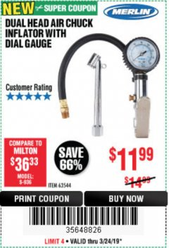 Harbor Freight Coupon DUAL HEAD AIR CHUCK INFLATOR WITH DIAL GAUGE Lot No. 63544 Valid Thru: 3/24/19 - $11.99