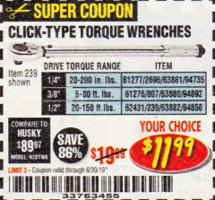 Harbor Freight Coupon CLICK-TYPE TORQUE WRENCHES Lot No. 61277/2696/63881/94735/61276/807/63880/94892/62431/239/63882/94850 Expired: 6/30/19 - $11.99
